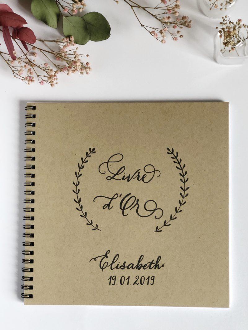 Livre D Or Anniversaire Kraft A Spirales Calligraphie Moderne