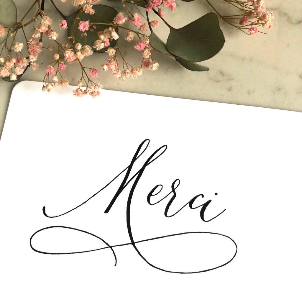 merci calligraphie moderne
