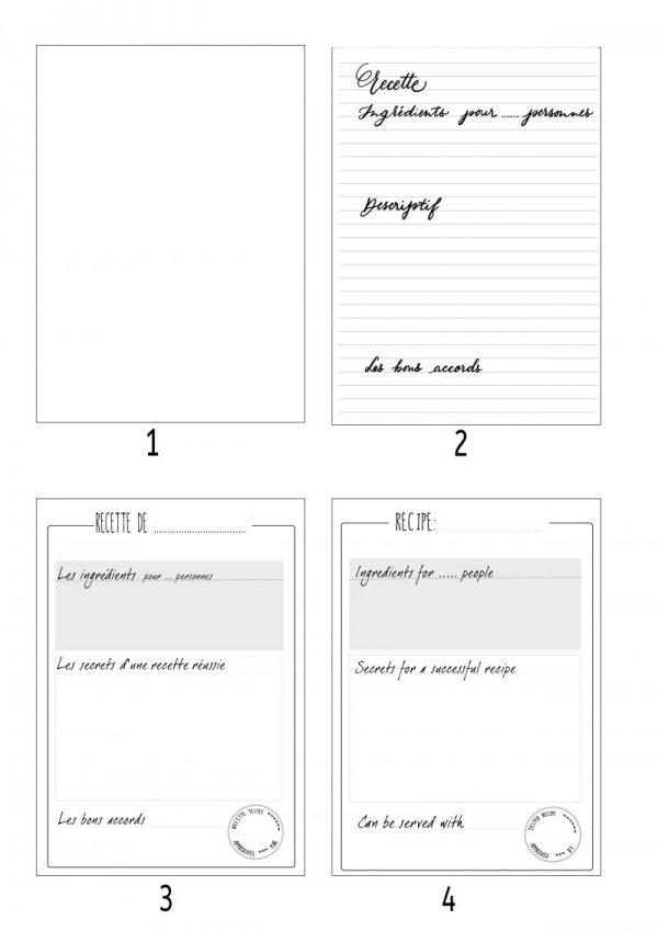 intérieur carnets de recettes à remplir
