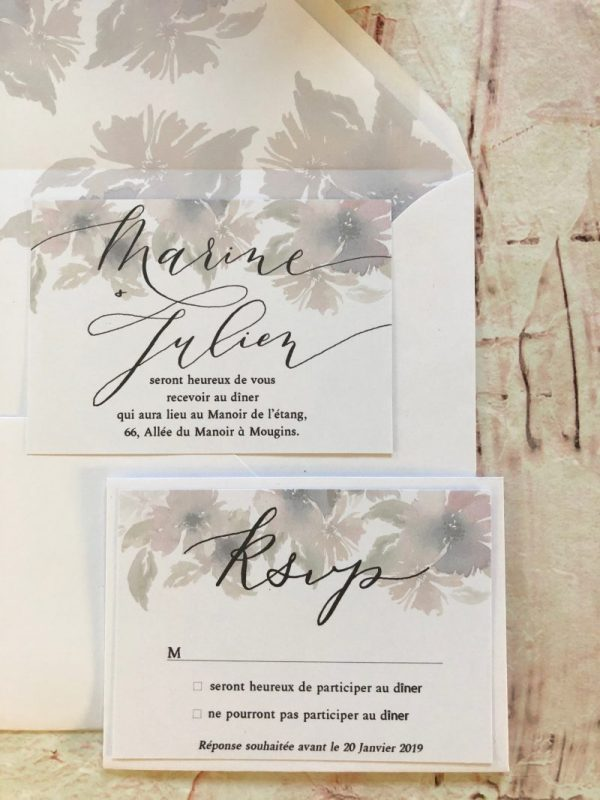 Carton invitation mariage champêtre chic