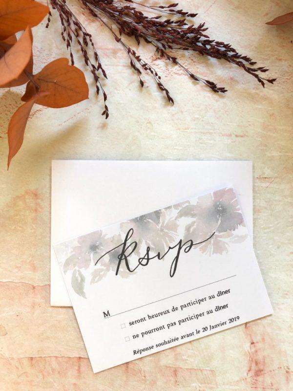 carton invitation réponse mariage champêtre chic