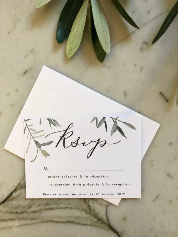 Carton réponse invitation de mariage