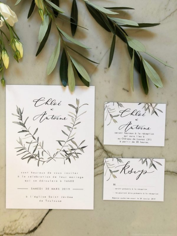 carte invitation mariage aquarelle branche d'olivier et calligraphie