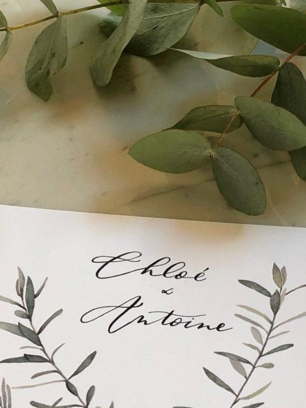 aquarelle branche d'olivier et calligraphie prénoms