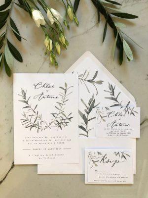 Invitation aquarelle branche d'olivier et calligraphie prénoms