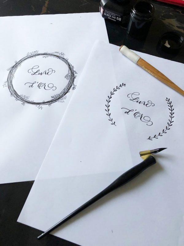 Calligraphie livre d'or personnalisé kraft et spirales