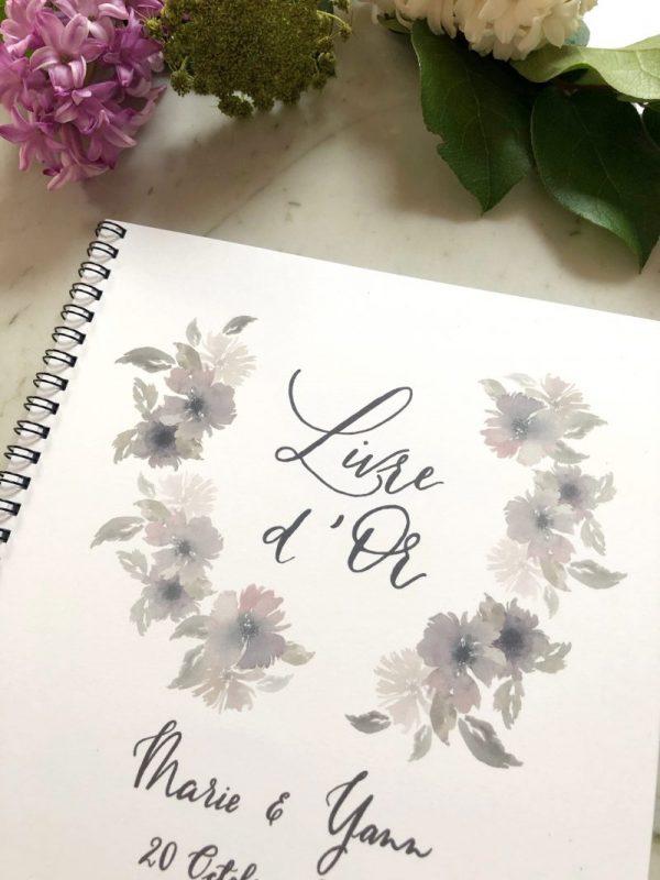 livre d'or blanc aquarelle fleurs