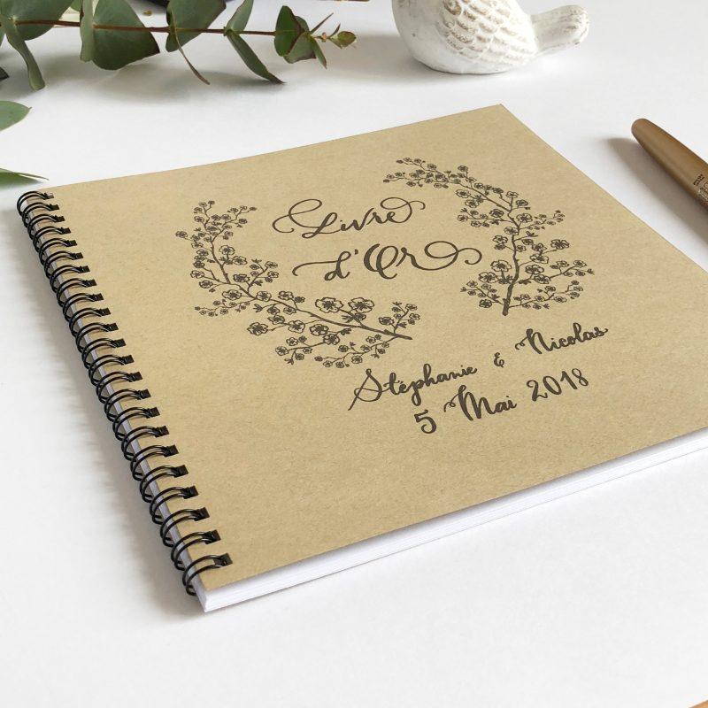 Livre D Or Mariage Kraft Personnalise A Spirales Fleurs De Cerisier Et Calligraphie