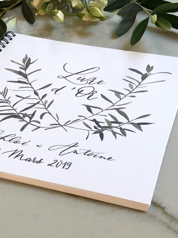 livre d'or blanc aquarelle branches d'olivier