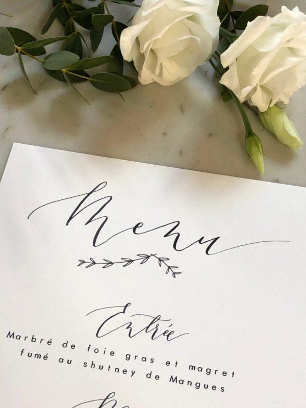 Carte menu mariage , calligraphie moderne