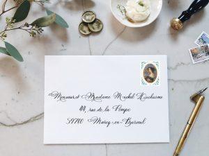 Calligraphie Spencerian sur enveloppe