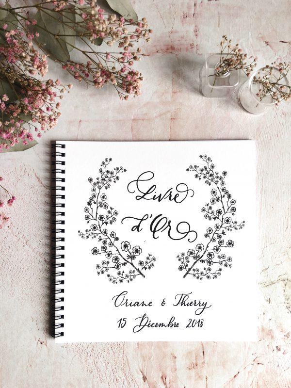 livre d'or blanc fleurs de cerisier