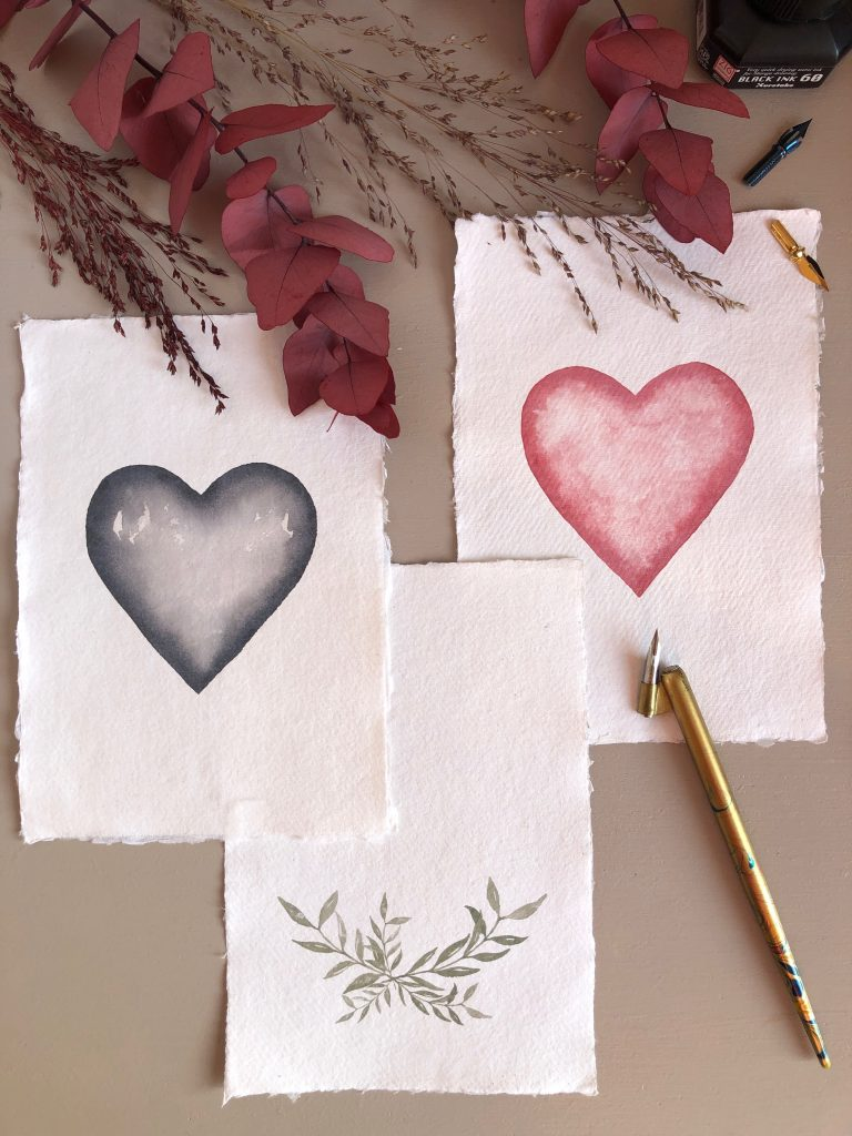 Aquarelle sur papier fait-main