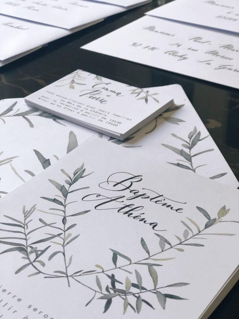 Invitation aquarelle Olivier et calligraphie
