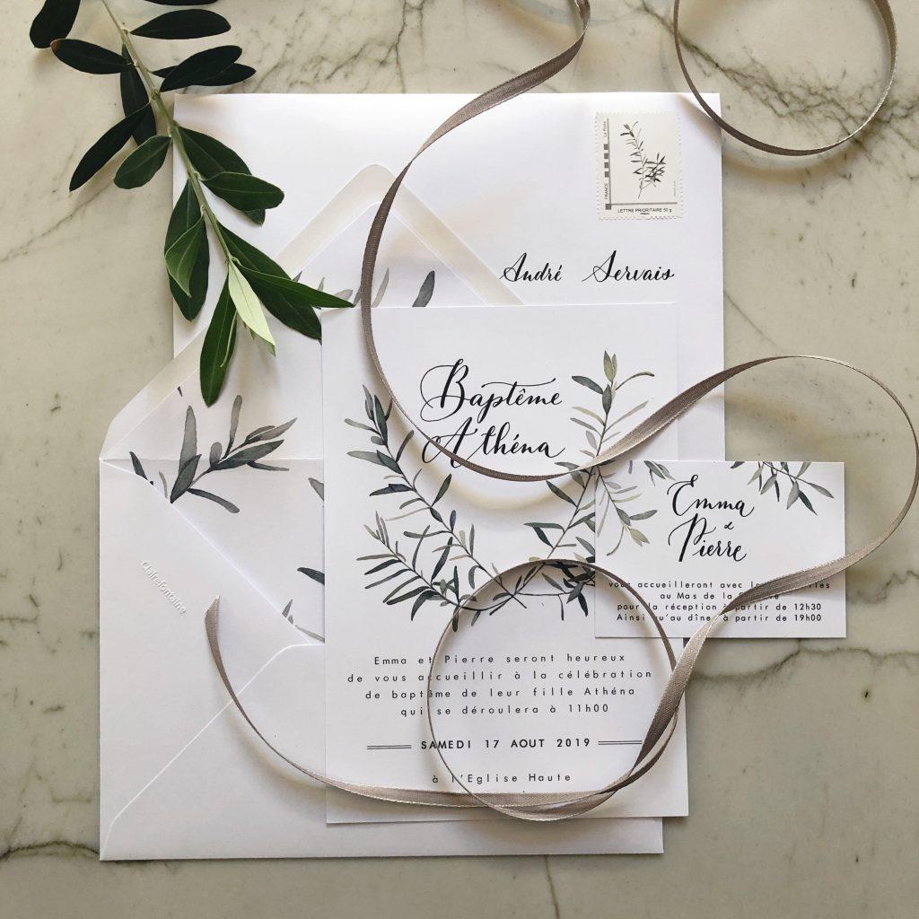 Invitation calligraphie et aquarelle olivier