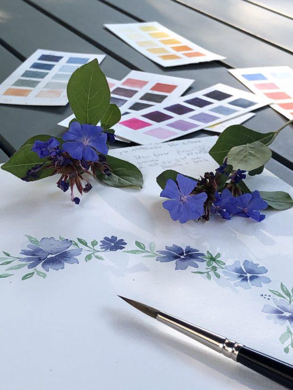 Aquarelle de fleurs bleues