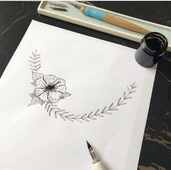 dessin fleur d'hibiscus