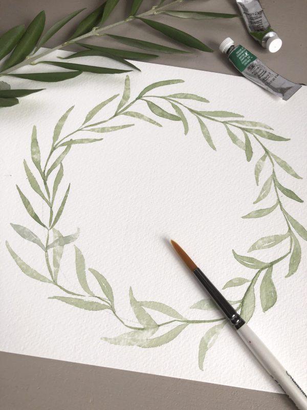 Aquarelle couronne d'olivier