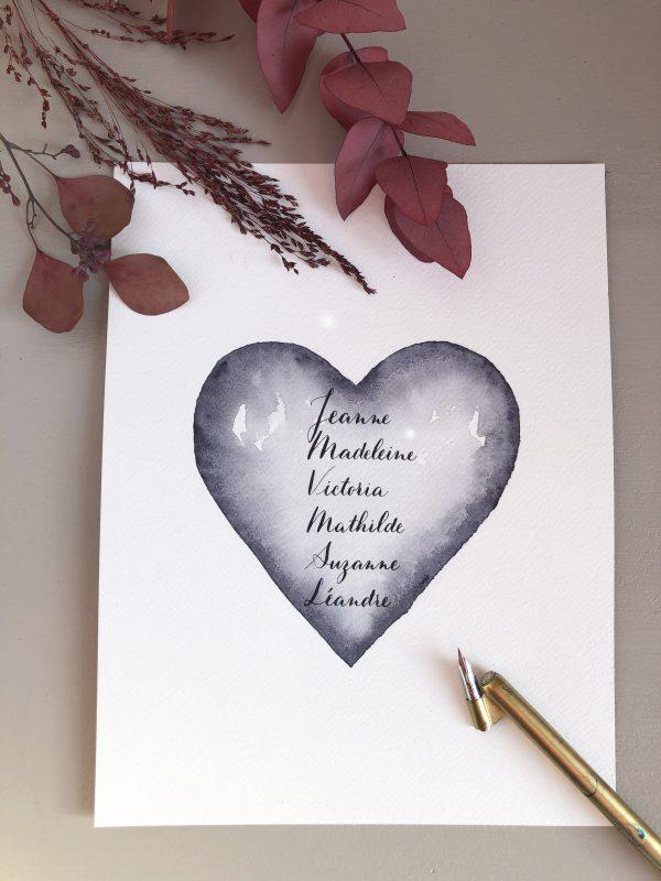 Calligraphie sur mesure sur papier fait-main