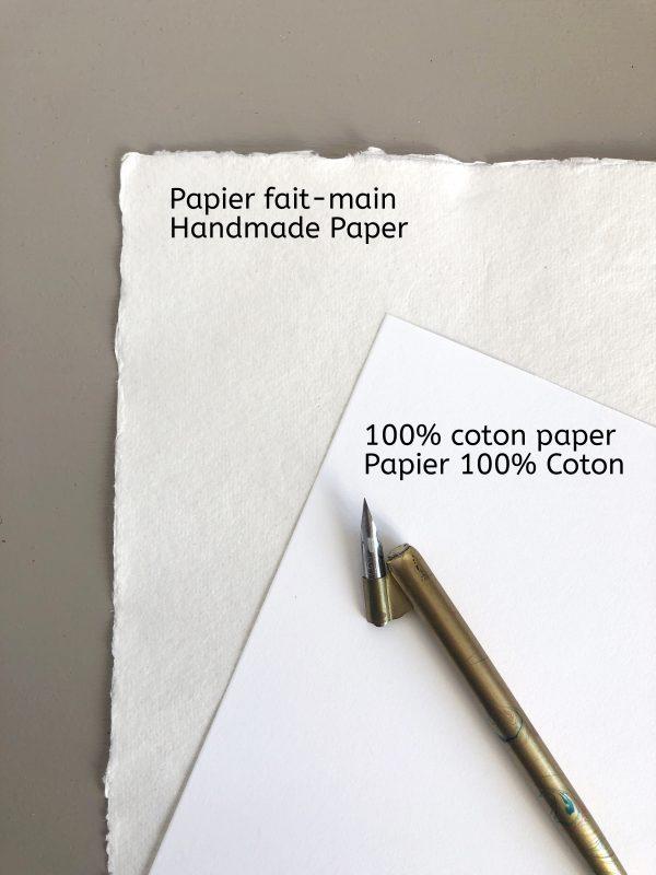 Papier fait-main ou 100% coton