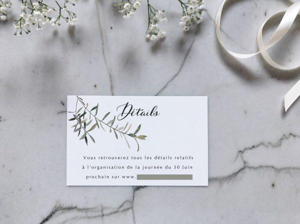 Carte détails faire-part mariage olivier