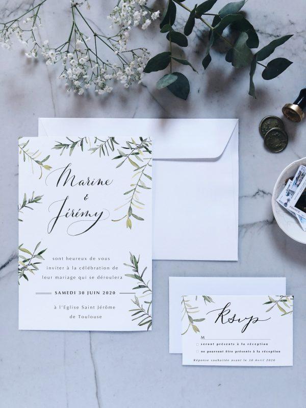 Ensemble faire-part invitation mariage