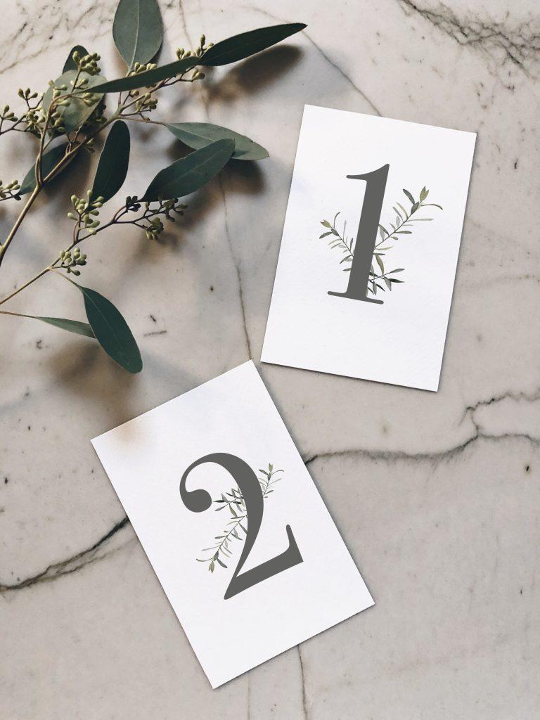 Numéro de table aquarelle olivier