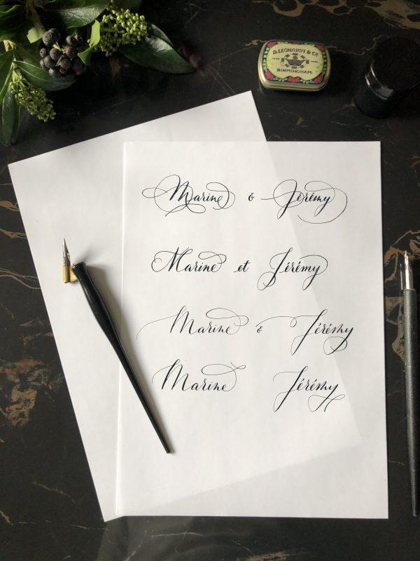Calligraphie pour faire-part mariage personnalisé