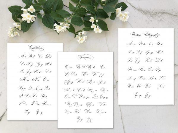 Alphabets de calligraphie à la plume anglaise