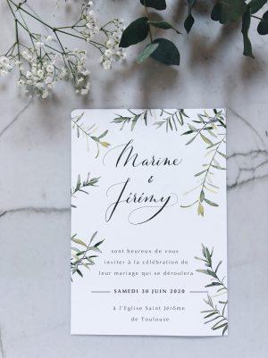 Invitation mariage personnalisée avec aquarelle olivier et calligraphie