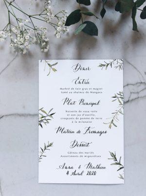 Menu mariage personnnalisable aquarelle olivier et calligraphie
