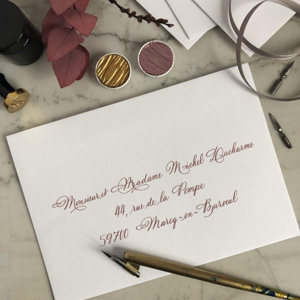 Calligraphie sur enveloppe