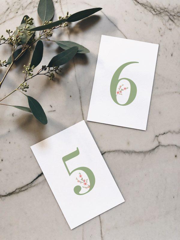 Numéro table mariage