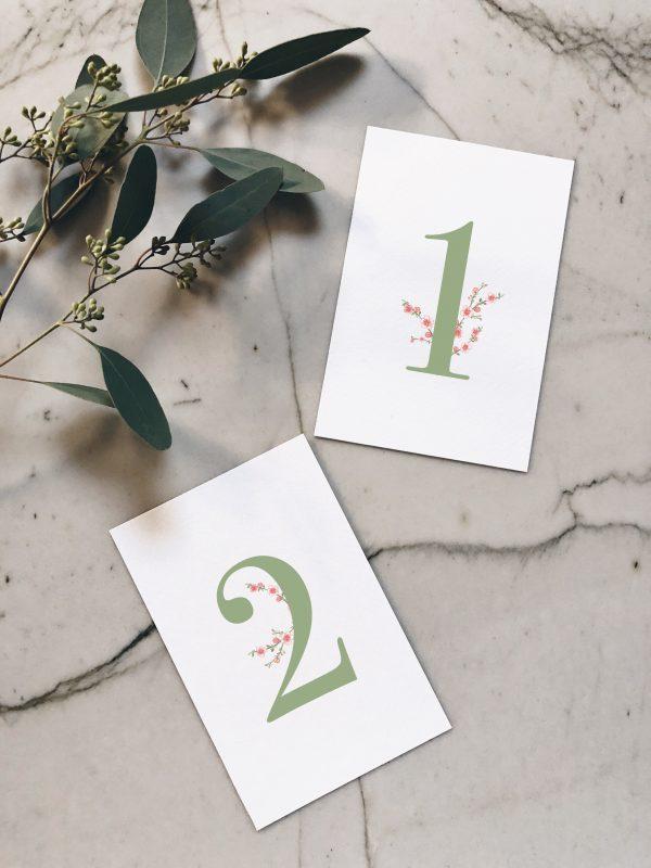 Numéro table mariage vert et rose