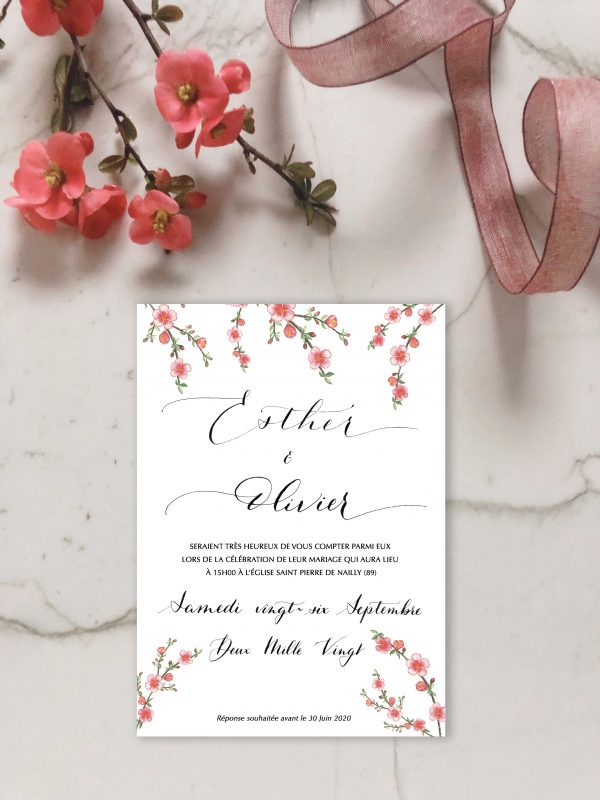 Invitation aquarelle fleurs de cognassier du Japon