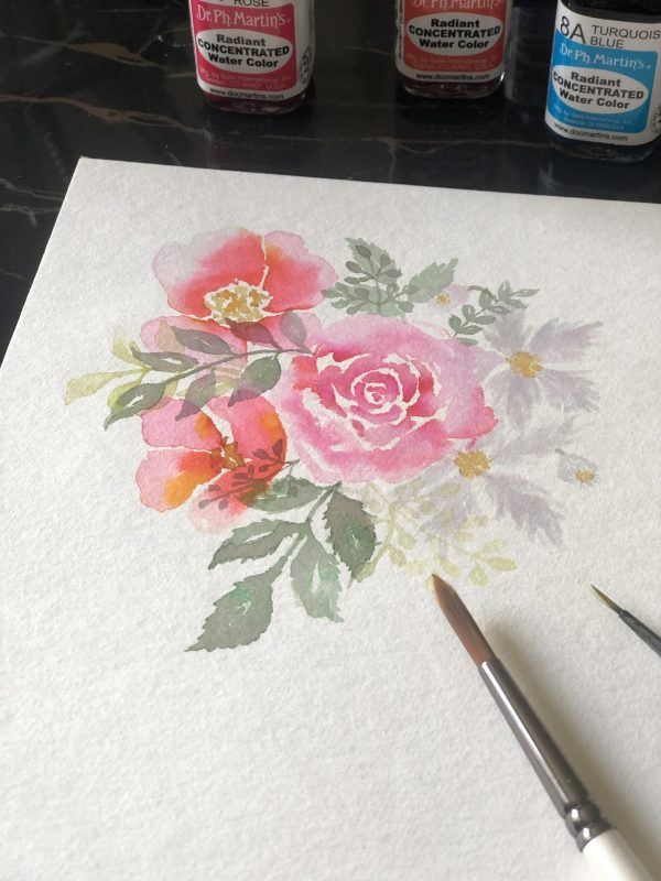 Aquarelle composition florale