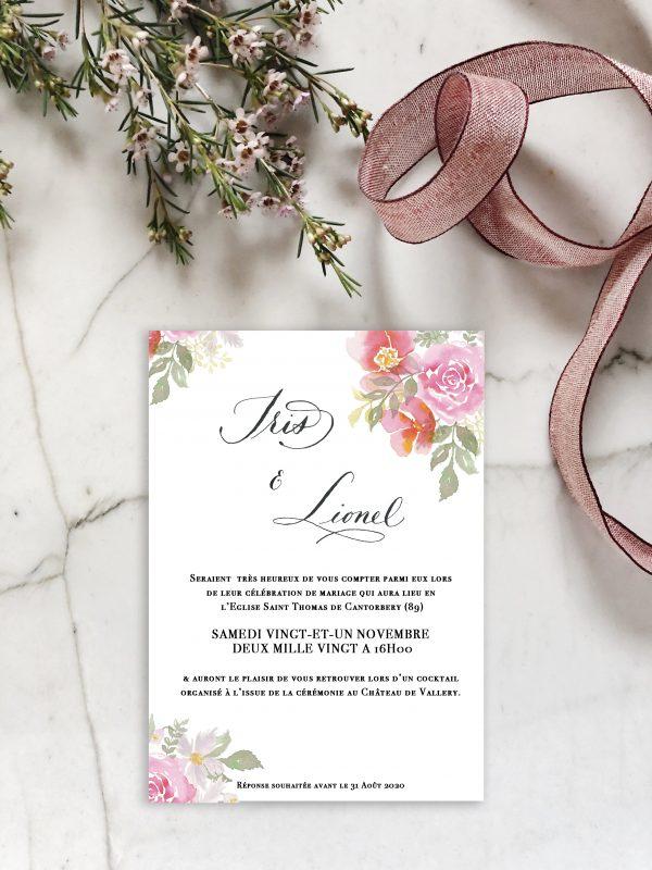 Faire-part mariage aquarelle florale