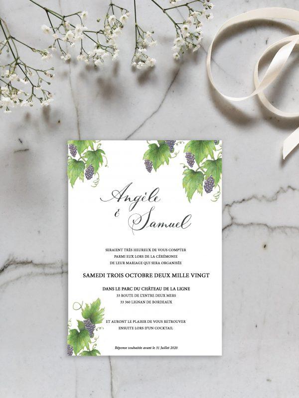 Invitation mariage aquarelle vigne et calligraphie