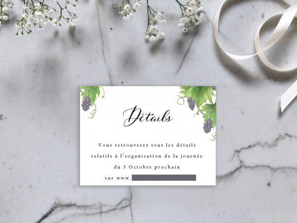 Carton détail invitation mariage aquarelle vigne