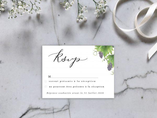 carton réponse invitation faire-part raisin et feuilles de vigne