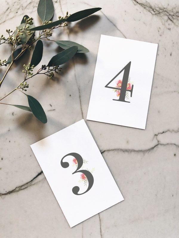 Numéro de table pour table de mariage