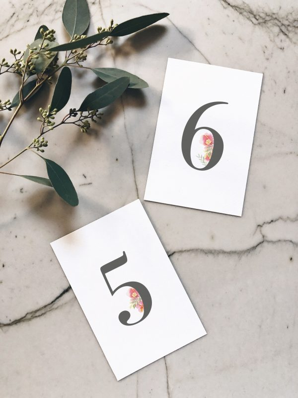 Numéro de table pour table de réception