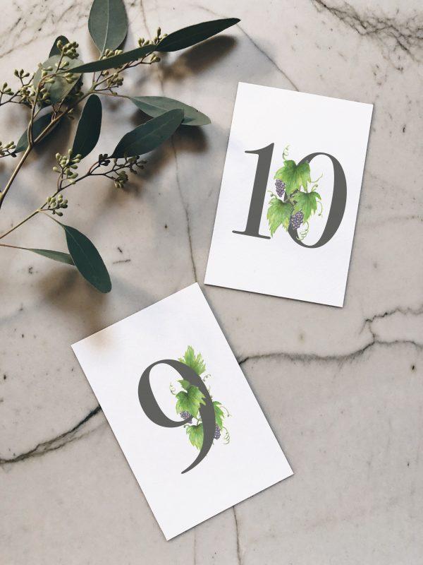 Numéro de table aquarelle vigne
