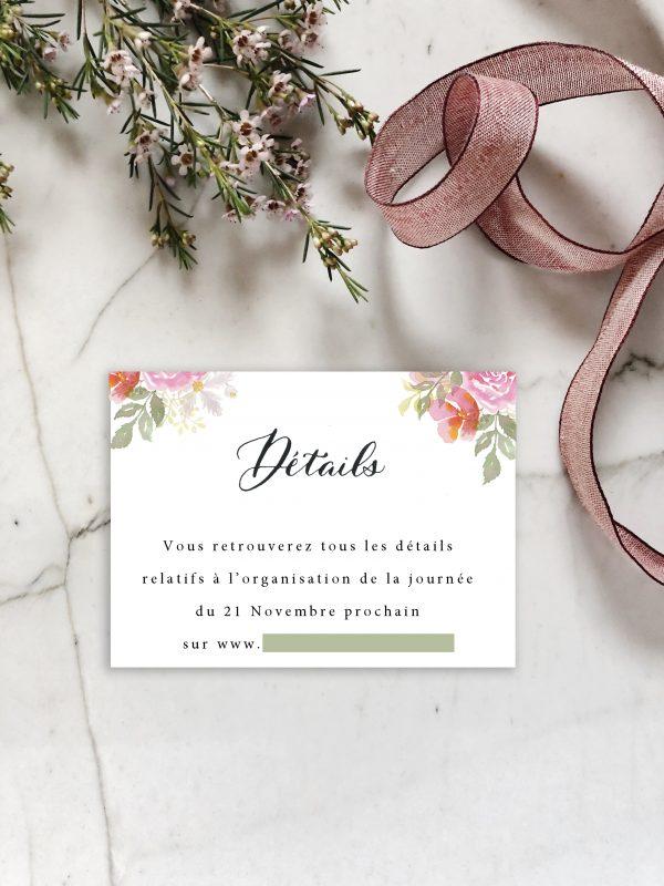 Carton détail invitation mariage aquarelle florale