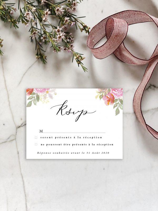 carte réponse invitation mariage aquarelle florale