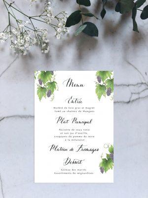 Menu mariage aquarelle vigne