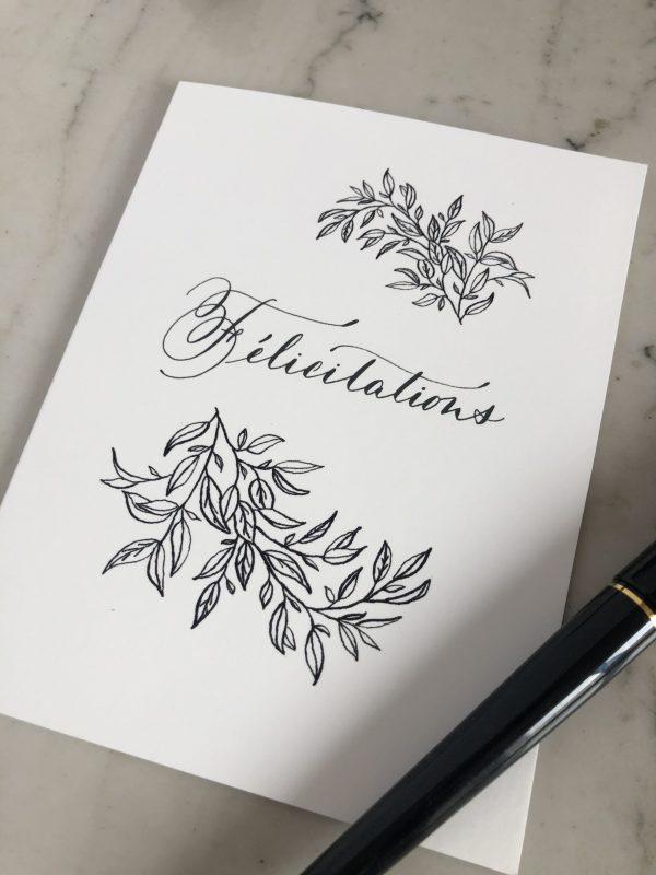 Carte Félicitations noir et blanc