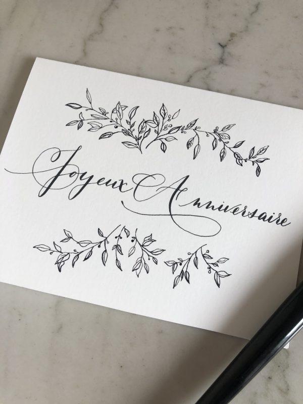 Carte joyeux anniversaire sobre et élégante