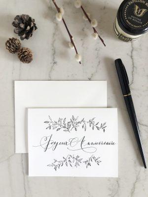 Carte Joyeux anniversaire noir et blanc