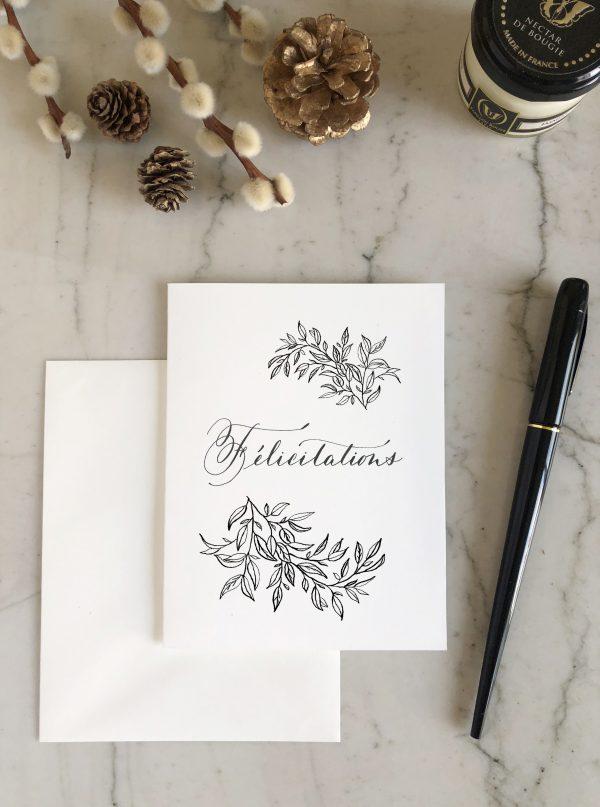 Carte Félicitations sobre et élégante